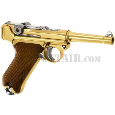 """Pistola P08 Gold 4"""" Full Metal Gas We"""
