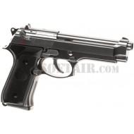 Beretta M92 Elite Chrome Gbb Full Metal B&W